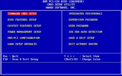 Главное меню AWARD BIOS версии 4.51 PG