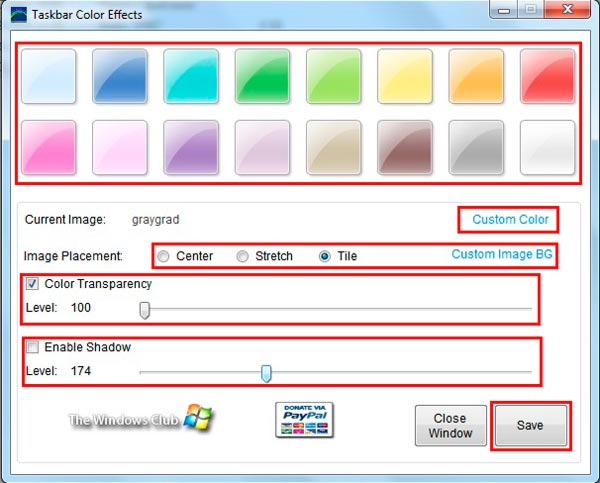 изменение цвета в taskbar color effects