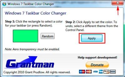 сохранение изменений в taskbar color changer