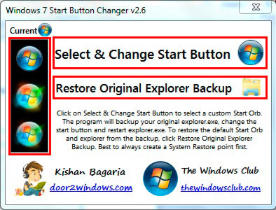 главное окно windows 7 start button changer