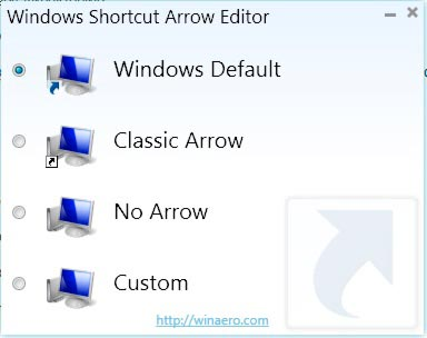 окно программы windows shortcut arrow editor