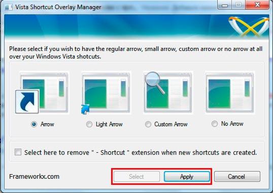 убираем стрелки с ярлыков на windows 7 программой vista shortcut overlay remover