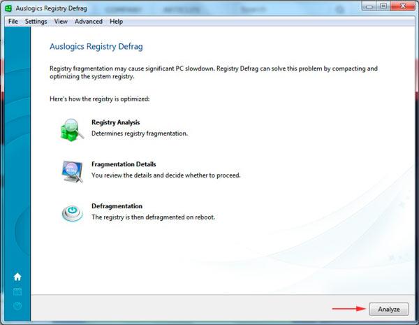 интерфейс Auslogics Registry Defrag