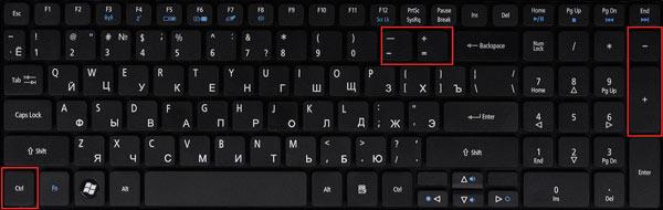 комбинация клавиш для изменения размера текста