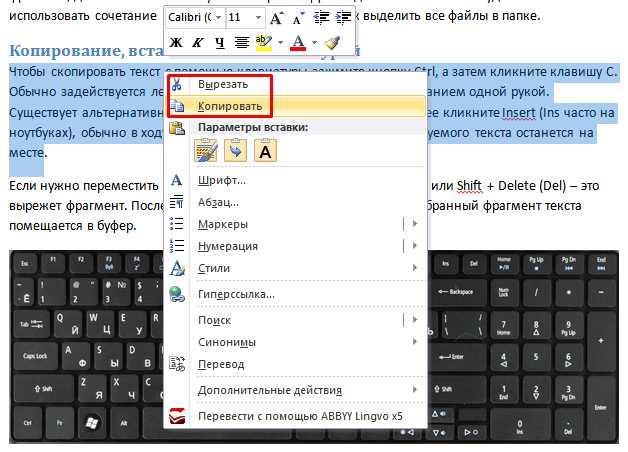 Как сделать копию папки с помощью клавиатуры
