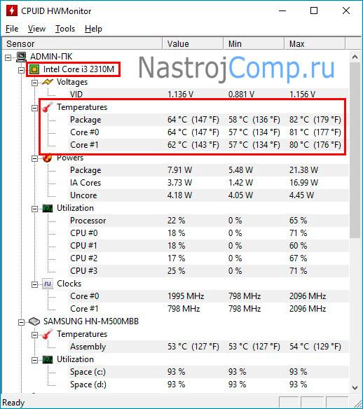 окно интерфейса приложения hwmonitor